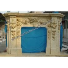 Rincón de la chimenea de mármol de piedra para Mantel (QY-LS389)