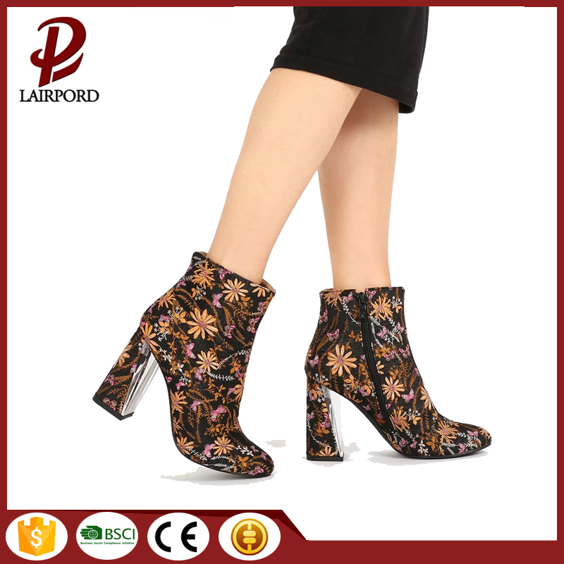 women's fabric printing flower warm ankle boots