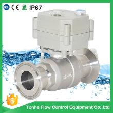 Válvula de bola sanitaria con control manual del motor eléctrico