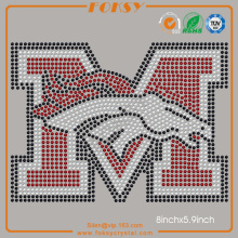 Denver Broncos M iron on rhinestones atacado