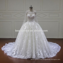 luxury elegant long sleeve wedding dress