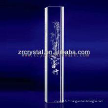 Cristal gravé en bambou de laser de K9 3D avec la forme de pilier