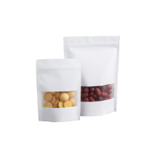 Customized food packing kraft paper ziplock bag with clear window