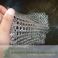 2015 Alibaba china suministro de hierro fundido de acero limpio XL 8X6 pulgadas de acero inoxidable chainmail depurador