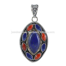 Coral and Lapis Gemstone 925 Sterling Silver Pendant Jewelry