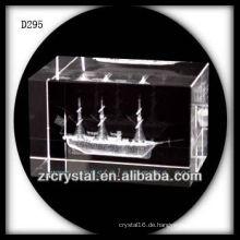 K9 3D Laser Unterwasser Segelschiff im Crystal Block