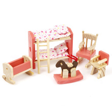 FQ marca dormitorio de lujo juguete casa de muñecas niño mini cabrito madera muebles de juguete
