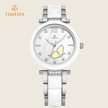 Moda feminina cristal strass cerâmica analógico quartzo relógio de pulso 71091