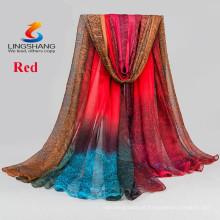 LINGSHANG DXF1 mais novo design cachecol moda vestido de seda sentir acessórios de moda lenço de chiffon mágico