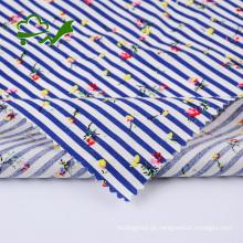 Listras de flores estampadas reativas em tecido 100% algodão