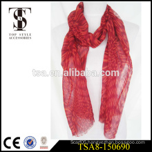 red abstract pattern screen printed scarves 100 Polyester Printed Scarf