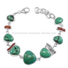 Handgemachte Edelstein-Schmucksache-natürlicher tibetanischer Türkis und Korallen-Stock-Edelstein 925 Sterlingsilber-Armband
