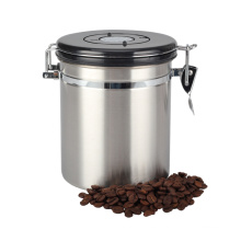 Caja de café hermético de acero inoxidable con esfera de fecha