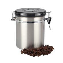 Boîte de café étanche à l'air en acier inoxydable avec cadran à date