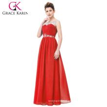 Grace Karin Vestido de noche largo rojo Backless de moda del baile de fin de curso de la tarde de la gasa CL6115-1 #