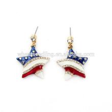 Estados Unidos bandera estrella rayas coloreadas aro modelo antiguo pendientes de la venta al por mayor mucho
