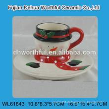 2016 letztes Design Keramikplatte mit Tasse in Schneemannform