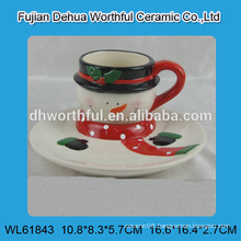 2016 lastest design ceramic plate with cup in snowman shape