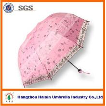 Heißer Verkauf windundurchlässiger kundenspezifischer rosa faltender Regenschirm