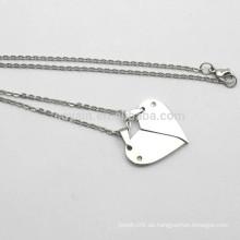 Heiße Verkaufs-Silber-Metall gebrochene Herz-Kettenhalskette
