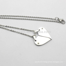 Hot Sale Silver Metal Broken Heart Chain Necklace