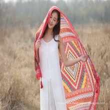 Wholesal beach vacation boho ethnic style shawl polyester scarf
