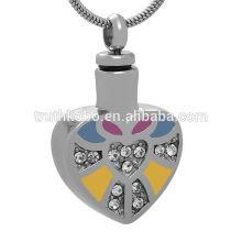 Recuerdo de las cenizas de la joyería del corazón del acero inoxidable 316L azul / amarillo / Colorfu con el colgante cristalino