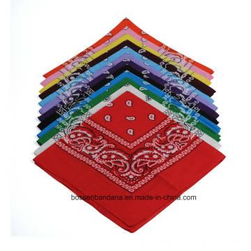OEM Produce Customized Logo Impreso Promocional Algodón Paisley Bandana Headwrap
