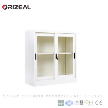 Orizeal 2 sliding glass door steel cabinet with 1 adjustable shelf(OZ-OSC013)