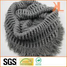 100% Acrylic Fashion Lady Gray Warp Knitted Neck Scarf with Fringe