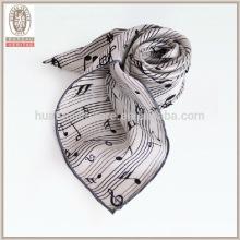 Notação musical colarinho cachecol 100% seda moda lenço da senhora