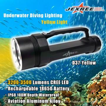 Mergulho autónomo poderoso pesca subaquática lanterna amarela