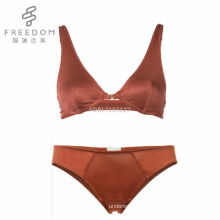 FDBL7103127 Hot sale high quality comfortable 100% silk sexy push up plunge front open sexy women underwear bra panties