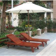Outdoor Patio Wooden Sunlounger mit Couchtisch Garten Umbrella für Hotel Pool Beach Deck