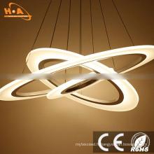 La LED ronde trois anneaux résidentielle moderne acrylique pendentif LED