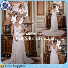 Princess New Style Spaghetti Strap Deep V Front Flowy Long Train Chiffon Grecian Wedding Dresses