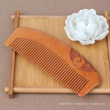 FQ marque cheveux logo personnalisé sculpture dents larges massage peigne en bois de pêche
