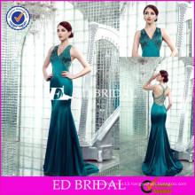 JC24 Wholesale Cap Sleeve V Neckline Beaded Sheath Emerald Green Evening Dress