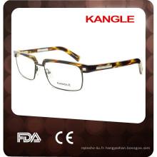 Nouvelle marque de lunettes de soleil en acétate pour hommes très acétate, acétate combiné avec des montures optiques en métal