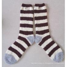 Микрофибры пушистые женские носки с Логосом вышивки