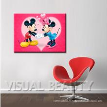 Mickey & Minnie Pictures Imprimé sur toile en coton pour enfant