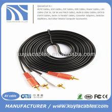 16FT 2RCA a 2RCA Cable estéreo doble del sistema de pesos americano Cable video audio Cable 5m 16 FT