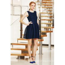 New Fashion Special Stripe Vestido com Plissado Box Plissado