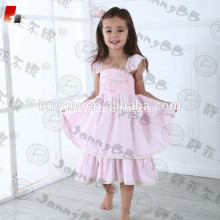 embroidery pink flutter sleeve toddler dress