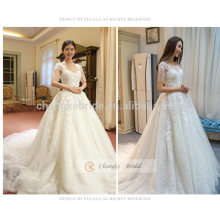Lace Appliqued Sweetheart Neckline Half-sleeve Mermaid Wedding Dress With Chapel Train