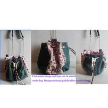 Jeans Fabric and PU Leather Girls Cosmetic Bags