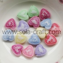 4*10*10MM Carved Washed Colorful Zhejiang Heart Charm Beads Pattern