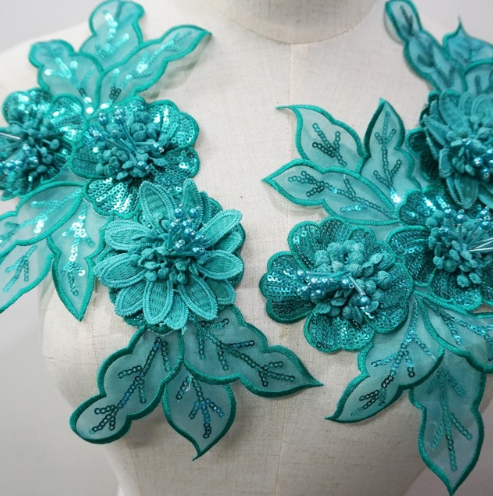 green embroidery flower