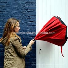 Pongee tecido à prova de vento promoção dentro do carro guarda-chuva reverso