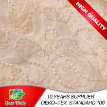 100% Polyester Mesh Embroidery with Beads and Chiffon Belt for Garments, Decoration, Wedding